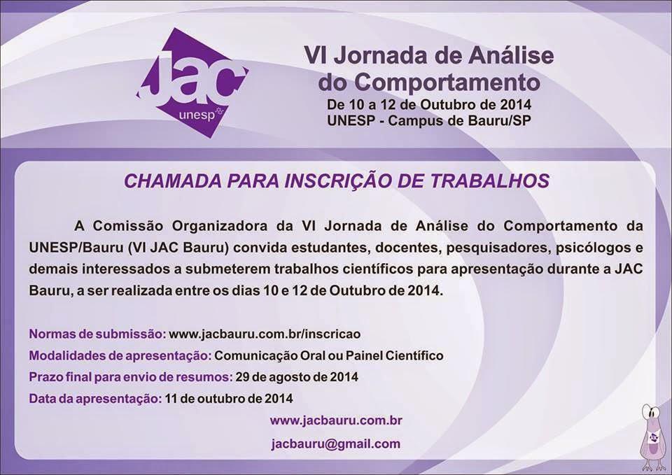 VI Jornada de Análise do Comportamento de Bauru/SP - JAC Bauru 11
