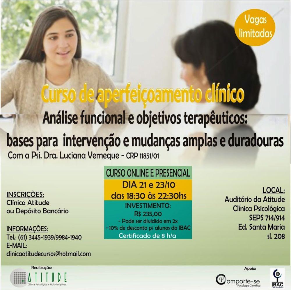 Curso de Aperfeiçoamento de Análise Funcional e Objetivos Terapêuticos - Brasília/DF 5