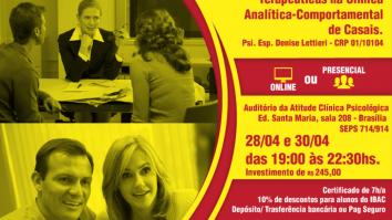Sorteio de uma inscrição no curso: Aprimoramento e Desenvolvimento de Habilidades e Competências Terapêuticas na Clínica Analítica-Comportamental de Casais. 5