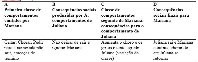 Quadro 2: esquema de interação entre Mariana e Juliana (Modelo retirado do artigo de Marianno e Guilhardi, 2005).