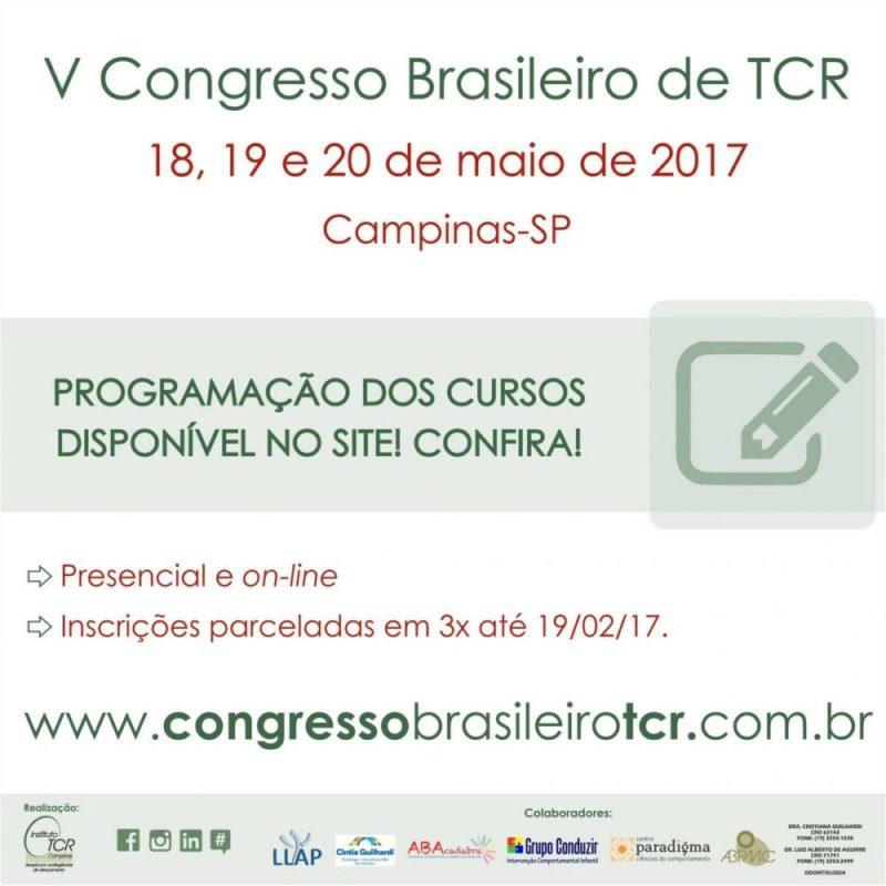 V Congresso Brasileiro de Terapia por Contingências de Reforçamento (TCR)