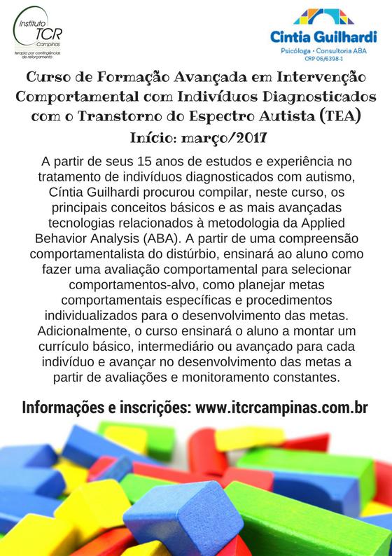 Curso de Formação Avançada em Intervenção Comportamental com Indivíduos Diagnosticados com Transtorno do Espectro Autista (TEA)
