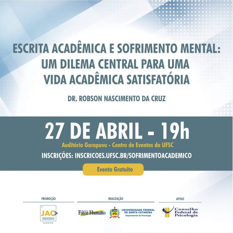 Palestra: Escrita Acadêmica e Sofrimento Mental