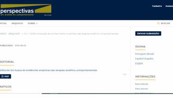 Revista Perspectivas: Edição Especial sobre a Produção de Conhecimento em Terapia Analítico-Comportamental 11
