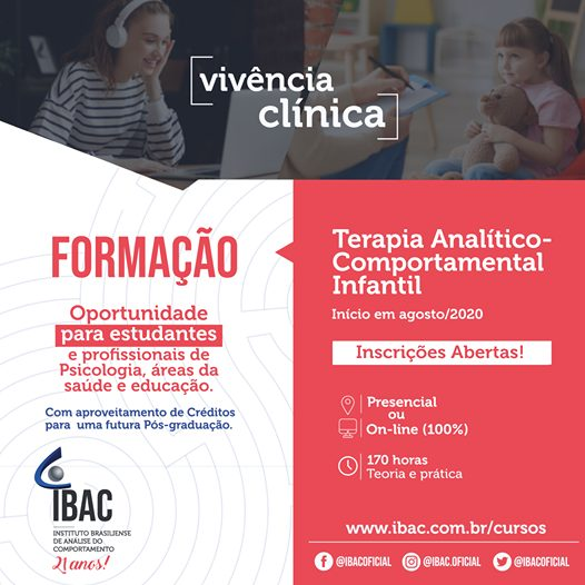 Formação em TERAPIA ANALÍTICO- COMPORTAMENTAL INFANTIL - IBAC 1