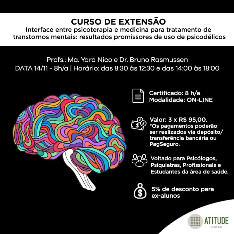 """Curso: """"Interface entre Psicoterapia e Medicina para o tratamento de Transtornos Mentais - Resultados promissores de uso de psicodélicos"""" 1"""